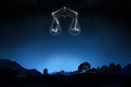 costellazioni: Segno zodiacale Bilancia con una stella e simbolo di struttura su un gradiente di sfondo del cielo