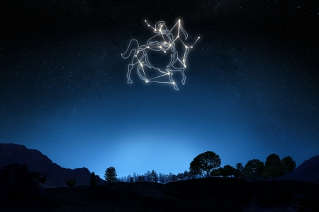 Zodiac Sign Sagittarius with a star and symbol outline on a gradient sky background   photo