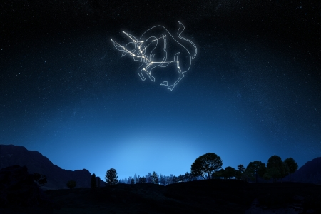 Zodiac Sign Taurus with a star and symbol outline on a gradient sky background