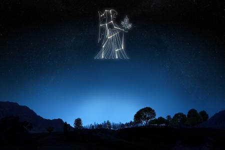 그라데이션 하늘 배경에 스타와 기호 개요와 별자리 처녀 자리