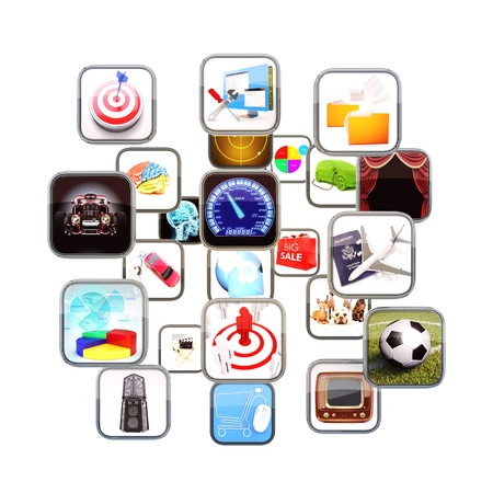 information median: Apps flowing in 3d space isolated on a white background