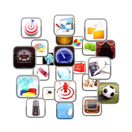 mediaan: Apps stroomt in 3D ruimte geïsoleerd op een witte achtergrond Stockfoto