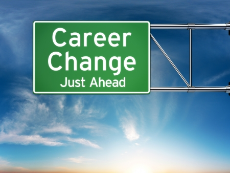 new start: Career change just ahead concept depicting a new choice in job Career