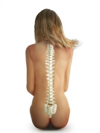 cervicales: Mujer sentada concepto columna sobre un fondo blanco Foto de archivo