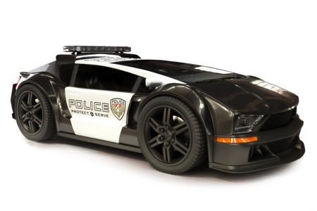 Futuristic Modern Police car cruiser on a white background 3d model scene Stock Photo