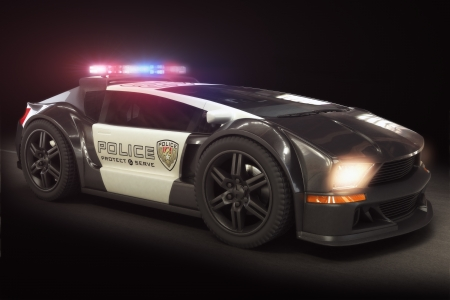 Futuristic modern Police car cruiser, with full array of lights  3d model scene  Stock Photo