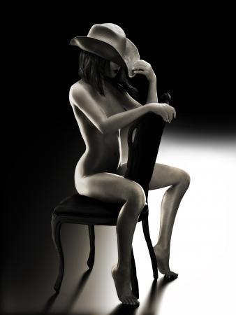modelo desnuda: Aptos mujer atractiva que se sienta en una silla con un sombrero de vaquero con la foto iluminación realista escena modelo 3d Studio en Blanco y Negro
