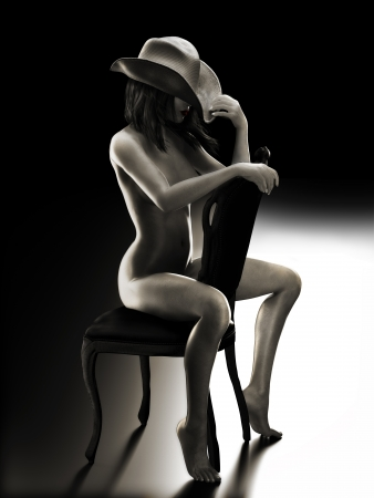 hat nude: Sexy fit woman sitting on a chair wearing a cowboy hat with Studio lighting   Photo realistic 3d model scene in Black and White