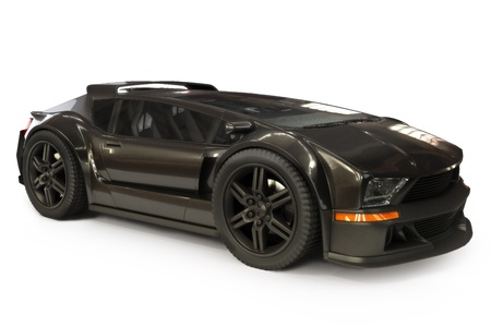 Custom black exotc sports car on a white background  Origianl design Reklamní fotografie