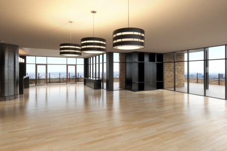 white wood floor: Empty room of business, or residence with a city background