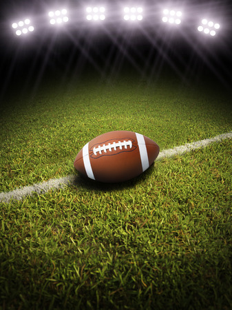 Football on a field with room for text or copy space Stock Photo - 22819315