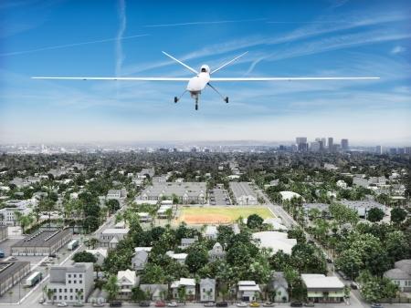UAV Drohnen fliegen predeator einer Stadtlandschaft Regierung Überwachung Konzept Standard-Bild