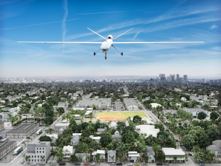 UAV predeator drone flying of an Urban landscape  Governement surveillance concept photo
