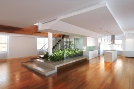 твердая древесина: Пустая комната жительства с центра атриум и паркетные полы Фото со стока