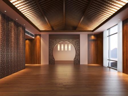 住居やオフィス スペースの空の東洋のデザイン スタイルのインテリア