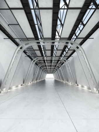Modern futuristic interior of a hall or walkway photo