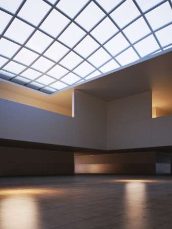 Large modern interior with a skylight roof Stock Photo