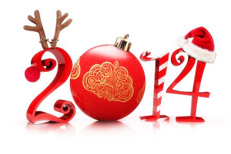 イラストの展示、トナカイ、ツリーの飾り、キャンデー杖、白い背景の上のサンタの帽子を持つ 2013年、2014 年クリスマス