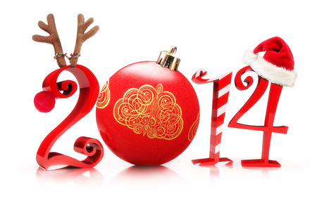 Christmas 2014, Illustration showcasing 2013 with a reindeer, tree ornament, candy cane, and a Santa hat on a white background