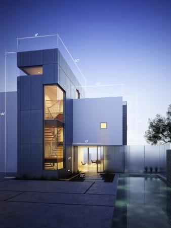 room accents: Costruzione moderna con blueprint accenti di design con spazio per il testo o la copia spazio su uno sfondo del cielo serale