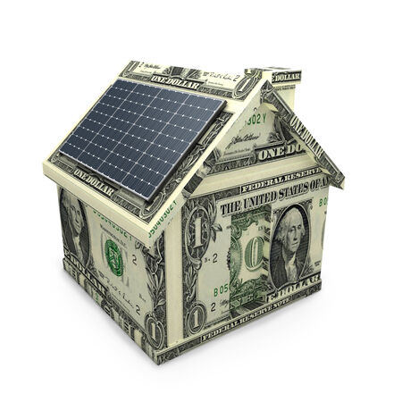 outdoor electricity: Solar power panels on a dollar house  Money savings , investment concept Stock Photo