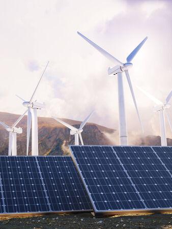 sun energy: Solar power and wind generators  Renewable clean energy concept