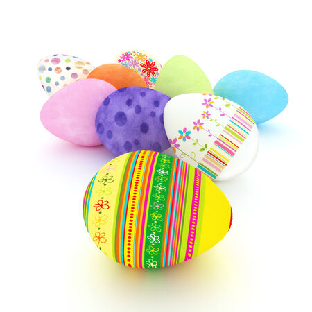 Easter eggs on a white background Stock Photo - 23145487