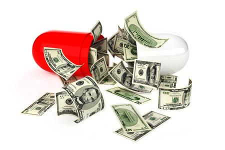 処方薬またはヘルスケアの概念、白い背景にオープン、錠剤からのお金の流れの高コスト