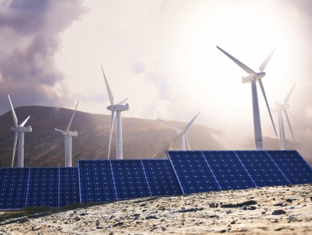 panel: Solar power and wind generators  Renewable clean energy concept