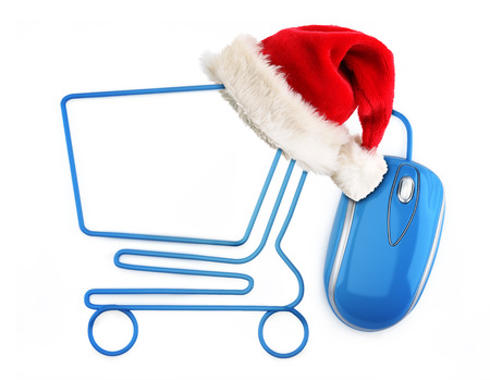 Christmas online shopping concept  Santa hat sitting on a shopping cart formed by a mouse cable Stock Photo - 23145493