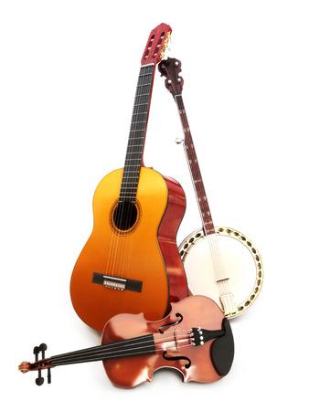 Los instrumentos de cuerda de música, guitarra, banjo, violín sobre un fondo blanco Foto de archivo
