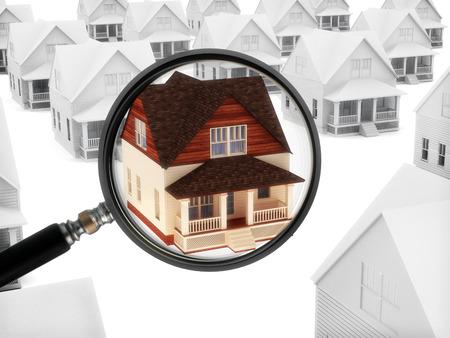 Immobilien beobachten Haus mit einer Lupe
