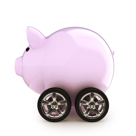 Car savings  Piggy bank with wheels on a white