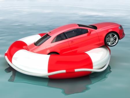 Auto spaar-of voertuig bescherming verzekering concept voertuig op een reddingsboei gered van zinken Stockfoto