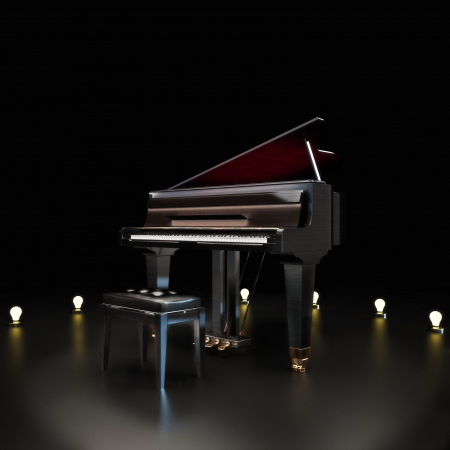 Elegant piano center stage with lighting accents on a black Room for text or copy space  Piano concert music concept   Stock Photo