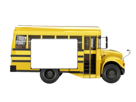 flashers: Illustration of a cute short bus with advertisement board on its side with room for text or copy space