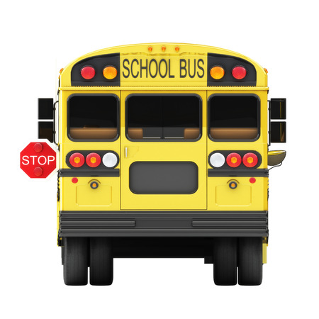 School bus stop concept on a white Back view of a students bus with stop marker showing  photo