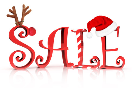 holiday: Christmas Holiday Sale  Sale in text with Reindeer , candy cane and Santa hat accents on a white