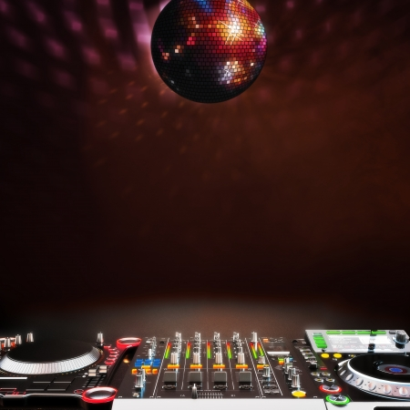 Disco music stage advertisement with DJ equipment and disco ball red tinted themed Room for text or copy space Disco ball is centered  Off centered also available  photo