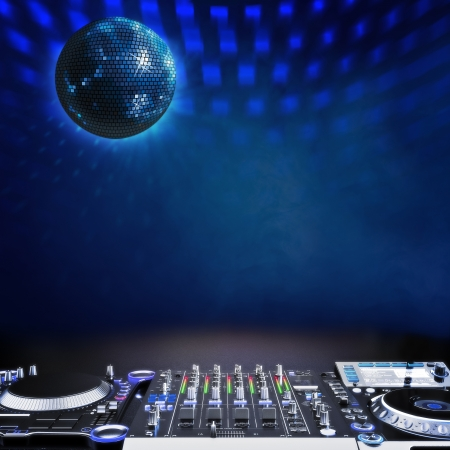 dj: Disco music stage advertisement with DJ equipment and disco ball blue themed Room for text or copy space  Disco ball is off center  Center version also available