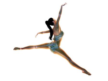 girl sport: L'arte del corpo femminile facendo una posa artistica con una struttura scheletrica ossea x-ray su un bianco