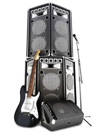 ヘビーメタル l, 大きいタワーのスピーカー、アンプ、マイク、白い背景の上のエレク トリック ギターでロックン ロール バック グラウンド