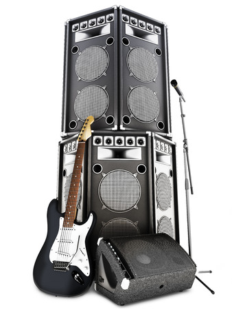 Heavy metal , rock and roll background with large tower speakers ,amp , microphone and electric guitar on a white background