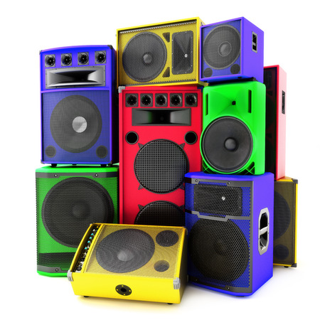 Colored group of speakers ,loud or abused concept  Traditional color also available  photo