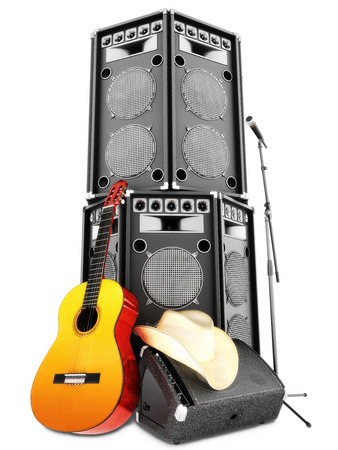 amp: Country music background with large tower speakers ,amp , microphone, cowboy hat and acoustic guitar on a white background