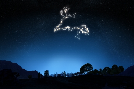 Zodiac Sign Pisces with a star and symbol outline on a gradient sky background   Stock Photo