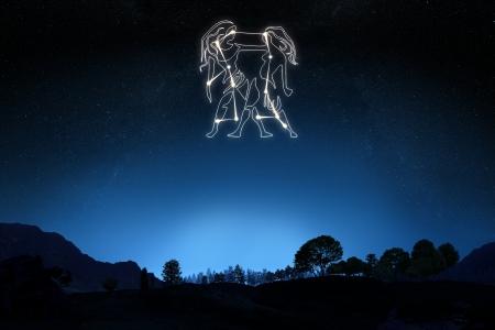 Sternzeichen Zwillinge mit einem Stern und Symbol Umriss auf einem Gradienten Himmel Hintergrund