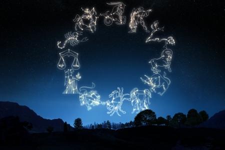 Sterrenbeeld s op een helling hemel achtergrond Een deel van een reeks van de dierenriem Individuele s ook leverbaar