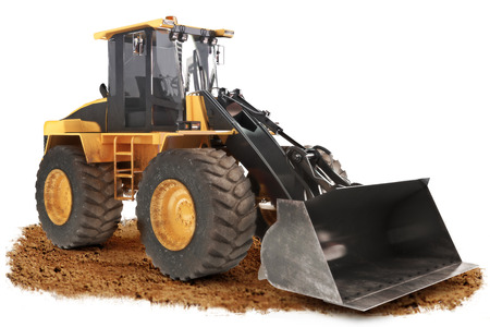 positioned: Generic construction bulldozer loader excavator construction machinery equipment  positioned on dirt with a   white background