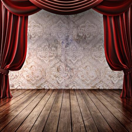 Holz Bühnenhintergrund mit Theatervorhänge, Werbung, Musik, Comedy oder darstellende Kunst-Konzept mit Platz für Text oder Kopie Raum Werbung Teil eines Bühnenkonzept Serie